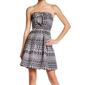 Eva Franco Anthropologie Vera Silver Black Bow Strapless Dress - 8